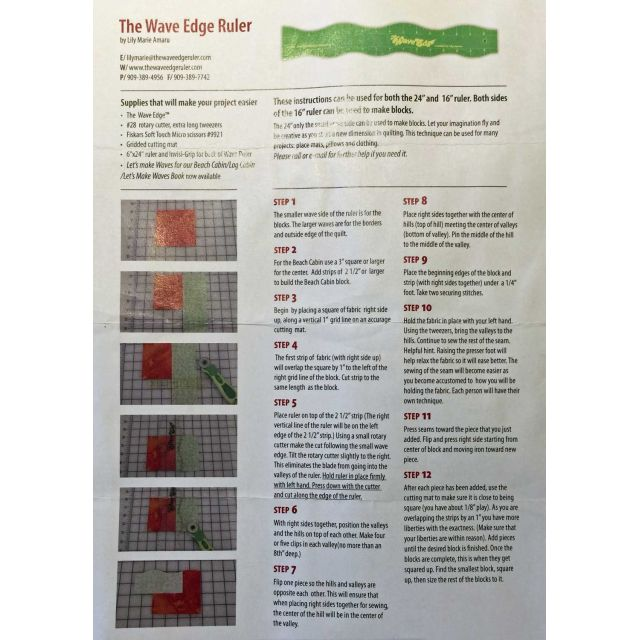 """The Wave Edge Ruler 3"""" x 24"""" by Matilda's Own Scallops, Wave, Curve Rulers - OzQuilts"""