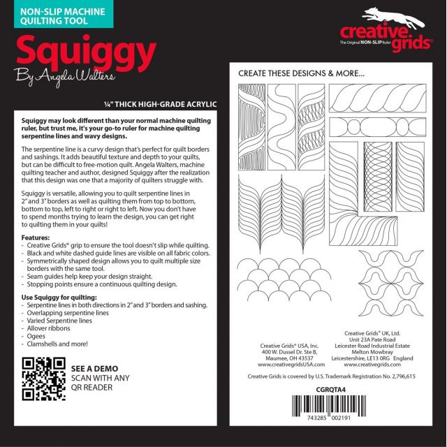 Creative Grids Machine Quilting Tool - Squiggy by Creative Grids Machine Quilting Rulers - OzQuilts