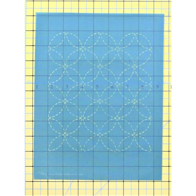 Full Line Stencil Sashiko Stitch Wineglasses by Hancy Full Line Stencils Pounce Pads & Quilt Stencils - OzQuilts