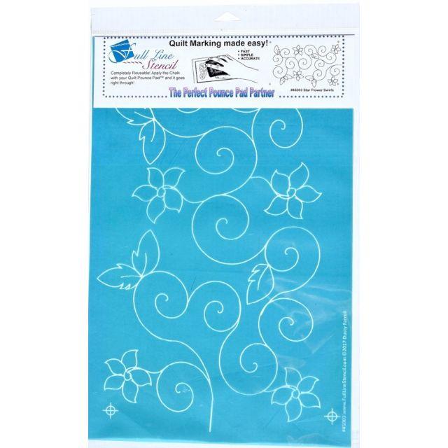 Full Line Stencil Star Flower Swirl by Hancy Full Line Stencils - Pounce Pads & Quilt Stencils