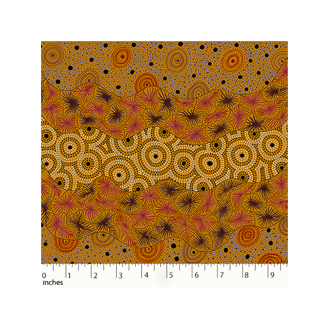 Wild Seed & Waterhole in Yellow by Tanya Price Nangala by M & S Textiles - Cut from the Bolt