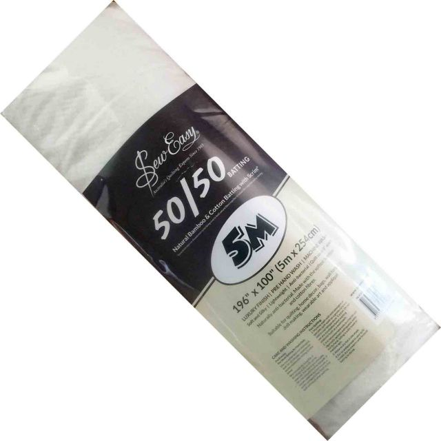 Sew Easy 50% Bamboo 50% Cotton Batting, 5 metres x 2.5 metres by Sew Easy Bulk Rolls of Batting - OzQuilts