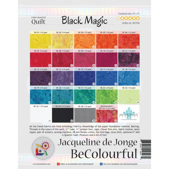 Black Magic Pattern & Foundation Papers by Jacqueline de Jongue by BeColourful Quilts by Jacqueline de Jongue Patterns & Foundation Papers - OzQuilts