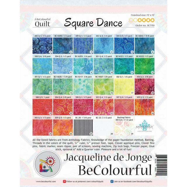 Square Dance Pattern & Foundation Papers by Jacqueline de Jongue by BeColourful Quilts by Jacqueline de Jongue Patterns & Foundation Papers - OzQuilts