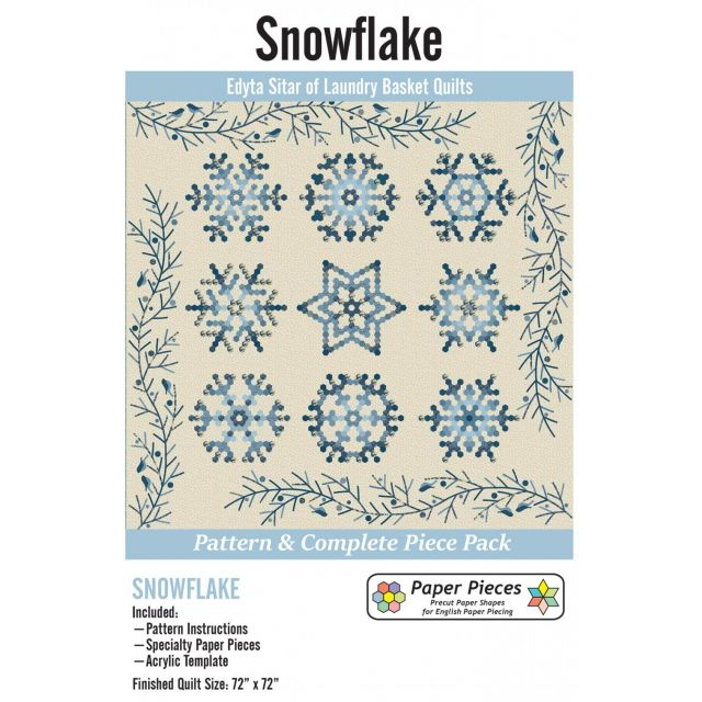 Pattern, Paper Piece and Acrylic Fabric Cutting Template Pack for Snowflake Complete Set by Edyta Sitar of Laundry Basket Quilts Paper Pieces Kits & Templates - OzQuilts