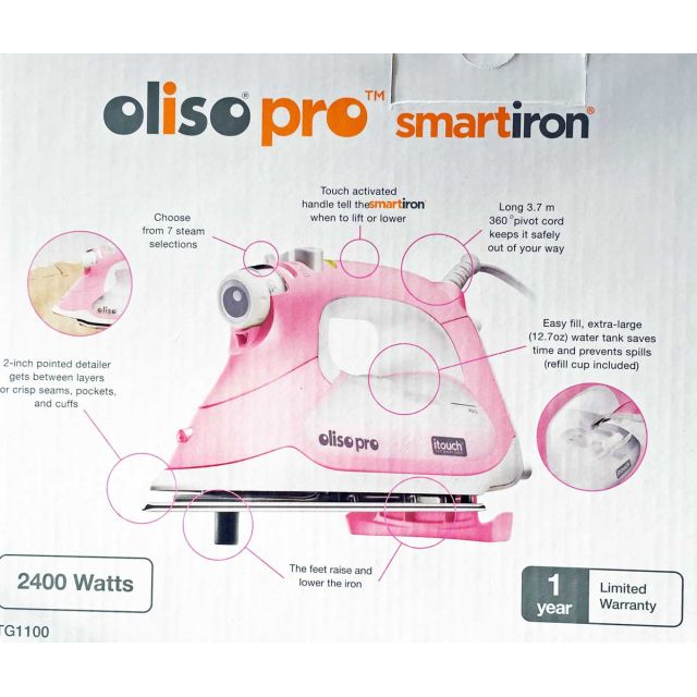 Oliso Pro Smart Iron with ITouch Technology- TG1100 for ANZ - Pink by Oliso Irons & Pressing Aids - OzQuilts
