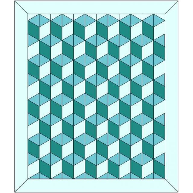 """Rhombus Baby Block 3D Cube Template fits 2.5"""" Strips by OzQuilts Custom Quilt Template Sets - OzQuilts"""