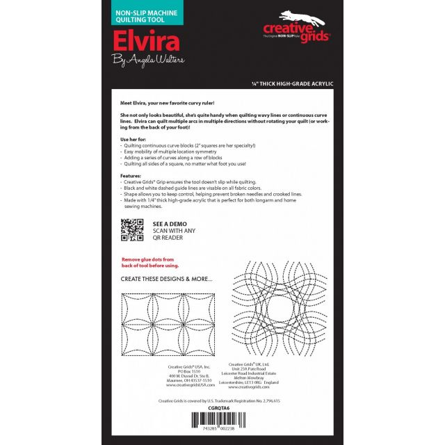 Creative Grids Machine Quilting Tool - Elvira by Creative Grids Machine Quilting Rulers - OzQuilts