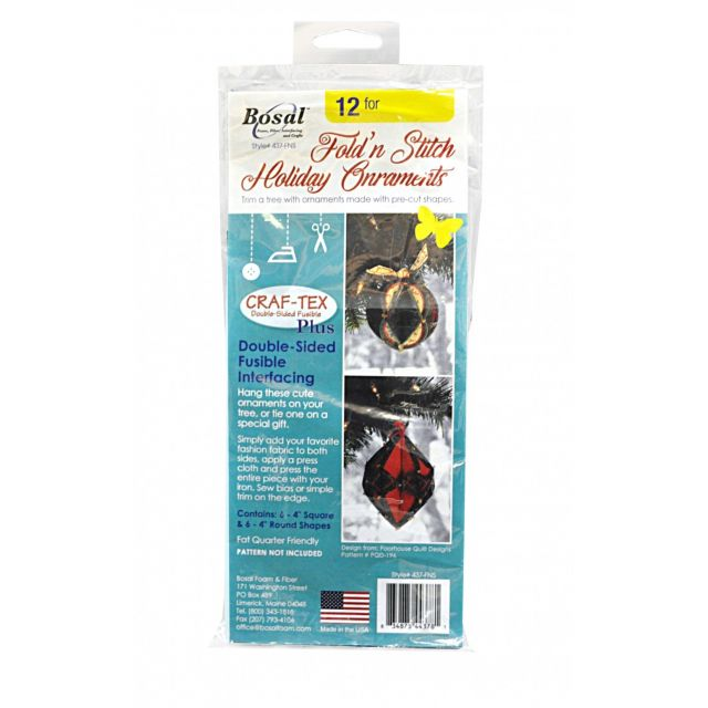 Bosal In-R-Form Double Sided Fusible Interfacing for Fold N Stitch Holiday Ornaments by PoorHouse Quilt Designs Pre-Cut Batts - OzQuilts