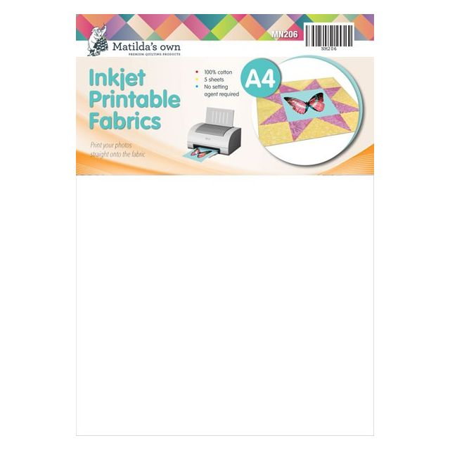 graphic relating to Printable Fabric Sheets for Inkjet Printers called Matildas Individual Inkjet Printable Cloth Sheets A4 Dimension -5 Sheets for every pack