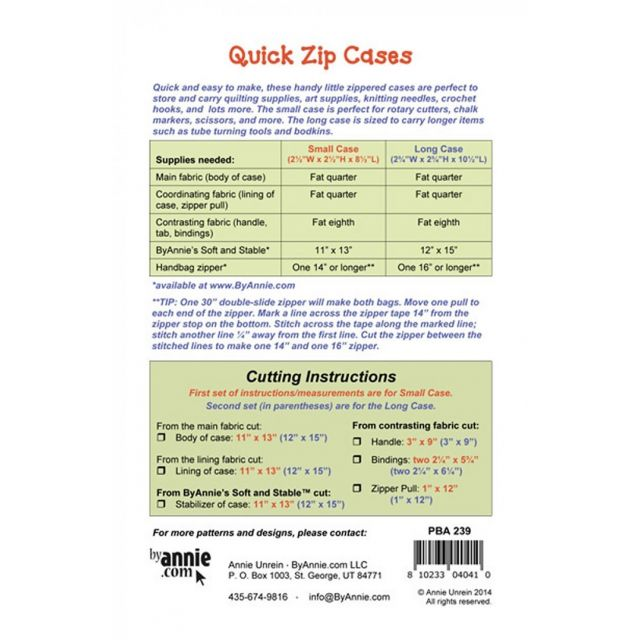 Quick Zip Cases Bag Pattern by Annie Unrein by ByAnnie Bag Patterns - OzQuilts