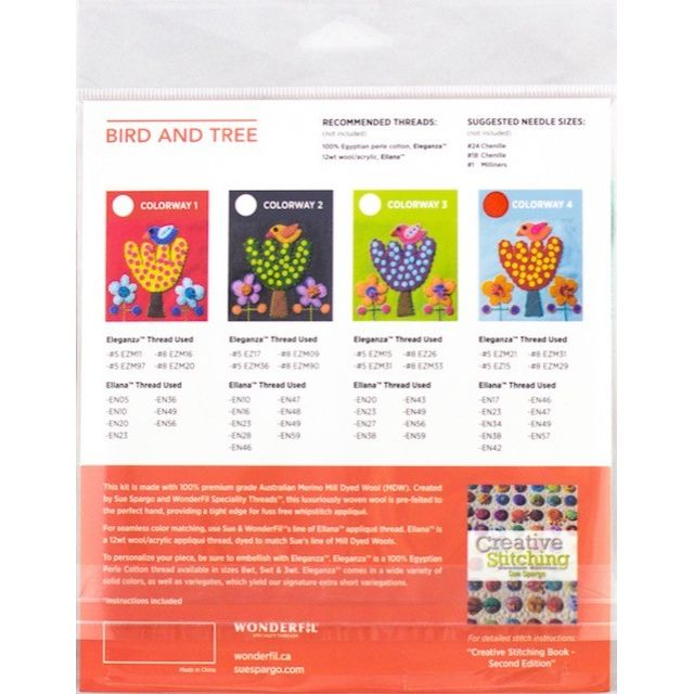 Sue Spargo Bird and Tree Colourway1 Precut Wool Kit by Wonderfil  Sue Spargo Wool Felt PreCut Kits - OzQuilts