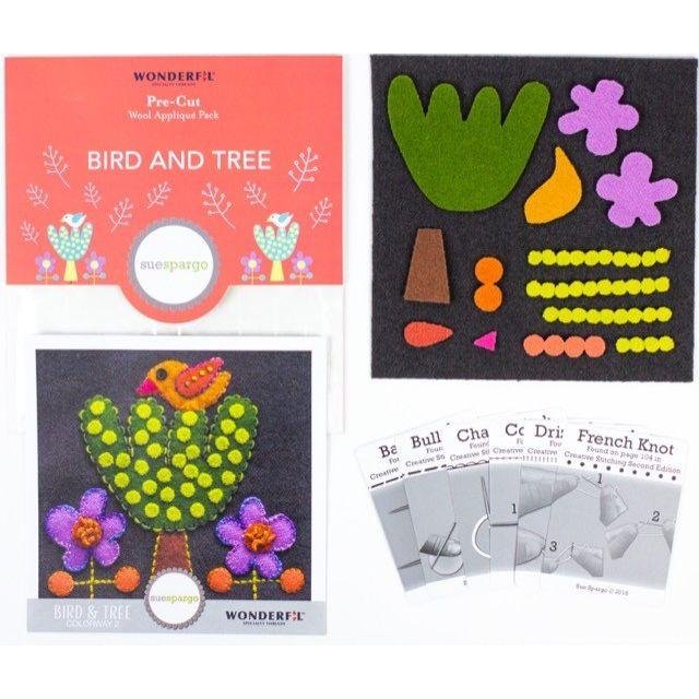 Sue Spargo Bird and Tree Colourway 2 Precut Wool Kit by Wonderfil  Sue Spargo Wool Felt PreCut Kits - OzQuilts
