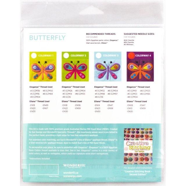 Sue Spargo Butterfly Colourway 1 Precut Wool Kit by Wonderfil  Sue Spargo Wool Felt PreCut Kits - OzQuilts