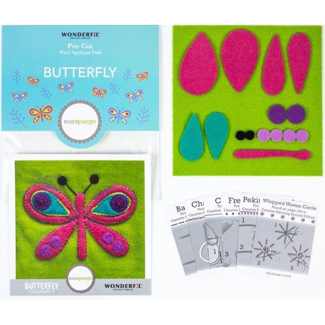 Sue Spargo Butterfly Colourway 2 Precut Wool Kit by Wonderfil  Sue Spargo Wool Felt PreCut Kits - OzQuilts