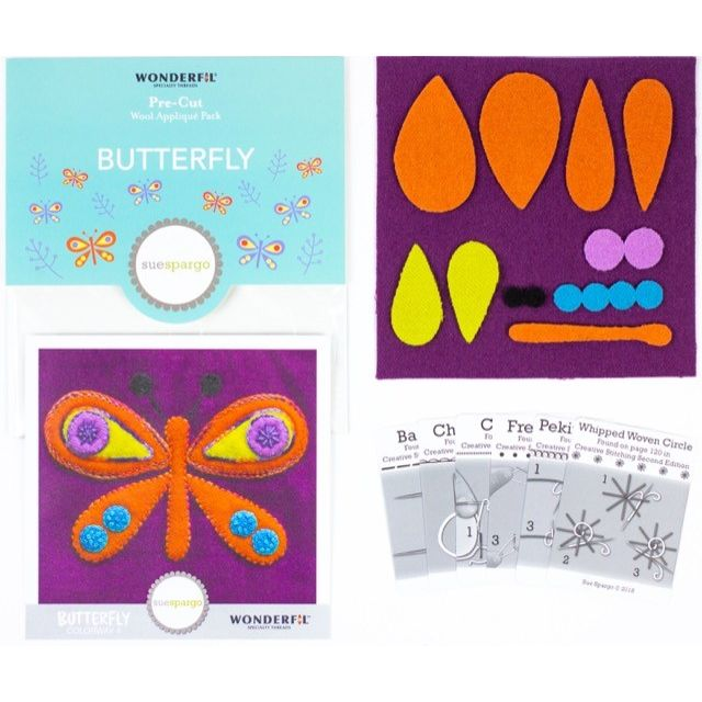 Sue Spargo Butterfly Colourway 4 Precut Wool Kit by Wonderfil  Sue Spargo Wool Felt PreCut Kits - OzQuilts