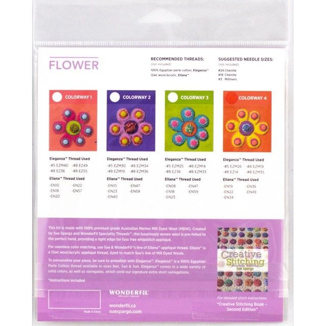 Sue Spargo Flower Colourway 4 Precut Wool Kit by Wonderfil  Sue Spargo Wool Felt PreCut Kits - OzQuilts