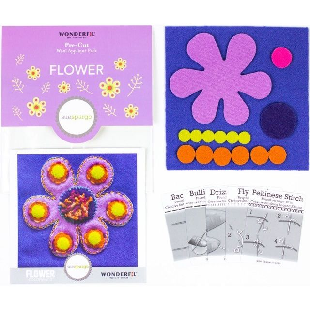 Sue Spargo Flower Colourway 2 Precut Wool Kit by Wonderfil  Sue Spargo Wool Felt PreCut Kits - OzQuilts