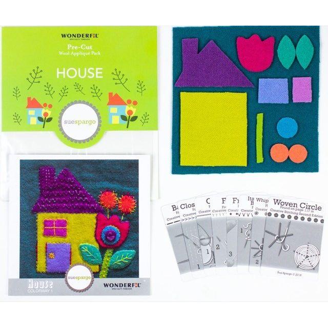 Sue Spargo House Colourway 1 Precut Wool Kit by Wonderfil  Sue Spargo Wool Felt PreCut Kits - OzQuilts