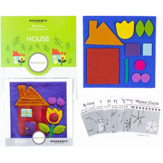 Sue Spargo House Colourway 3 Precut Wool Kit by Wonderfil  Sue Spargo Wool Felt PreCut Kits - OzQuilts