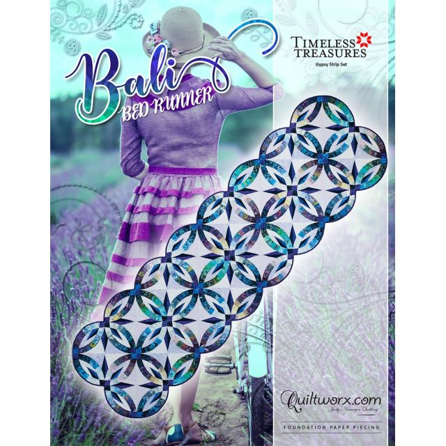 Quiltworx Bali Bed Runner Quilt Pattern & Foundation Papers by Quiltworx Judy Niemeyer Quiltworx - OzQuilts