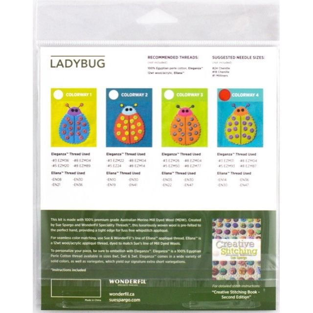 Sue Spargo Ladybug Colourway 1 Precut Wool Kit by Wonderfil  Sue Spargo Wool Felt PreCut Kits - OzQuilts