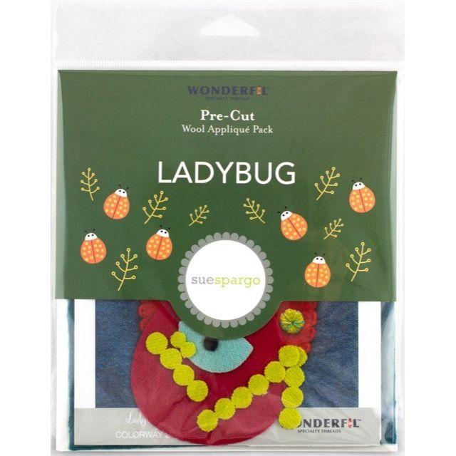 Sue Spargo Ladybug Colourway 2 Precut Wool Kit by Wonderfil  Sue Spargo Wool Felt PreCut Kits - OzQuilts