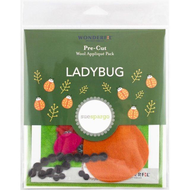 Sue Spargo Ladybug Colourway 3 Precut Wool Kit by Wonderfil  Sue Spargo Wool Felt PreCut Kits - OzQuilts