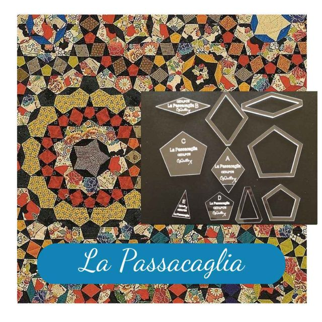 "La Passacaglia Halo Template Set from Millefiori Quilts - 1.75"" Size by OzQuilts EPP Templates - OzQuilts"