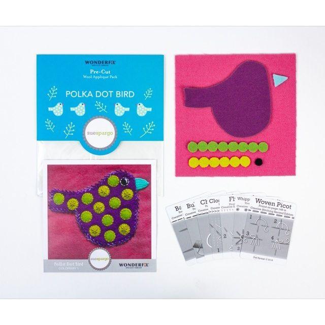 Sue Spargo Polka Dot Bird Colourway 1 Precut Wool Kit by Wonderfil  Sue Spargo Wool Felt PreCut Kits - OzQuilts