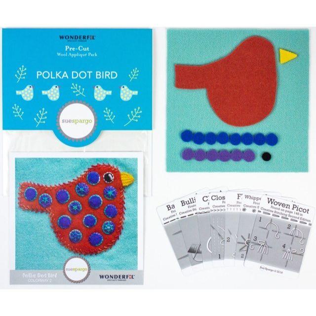 Sue Spargo Polka Dot Bird Colourway 2 Precut Wool Kit by Wonderfil  Sue Spargo Wool Felt PreCut Kits - OzQuilts
