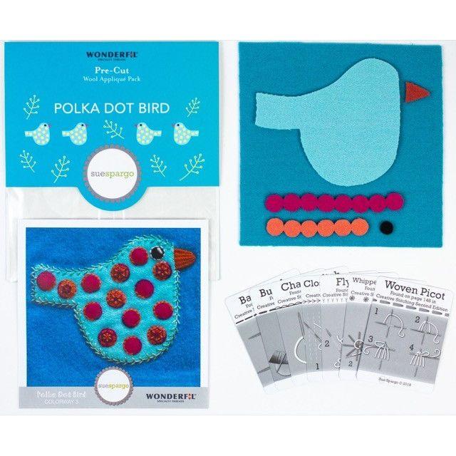 Sue Spargo Polka Dot Bird Colourway 3 Precut Wool Kit by Wonderfil  Sue Spargo Wool Felt PreCut Kits - OzQuilts