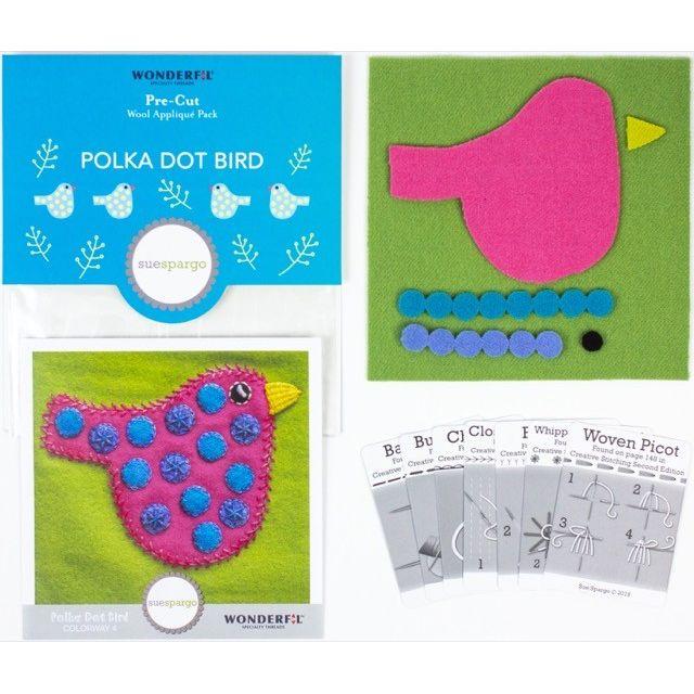 Sue Spargo Polka Dot Bird Colourway 4 Precut Wool Kit by Wonderfil  Sue Spargo Wool Felt PreCut Kits - OzQuilts