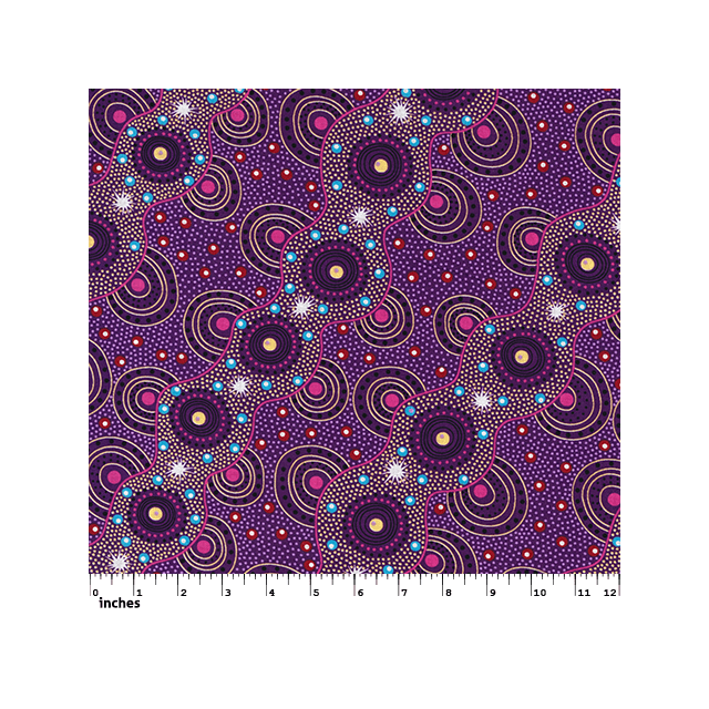 Bush Dreamings of Utopia Purple Australian Aboriginal Art Fabric by Tanya Price by M & S Textiles Cut from the Bolt - OzQuilts