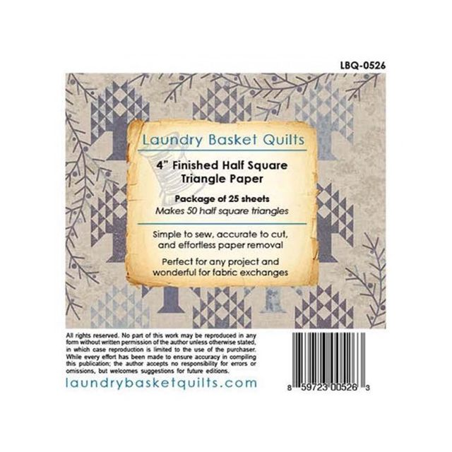 Triangle Paper 4in for Charm Pack by Edyta Sitar by Edyta Sitar of Laundry Basket Quilts Pre-printed Triangle Papers - OzQuilts