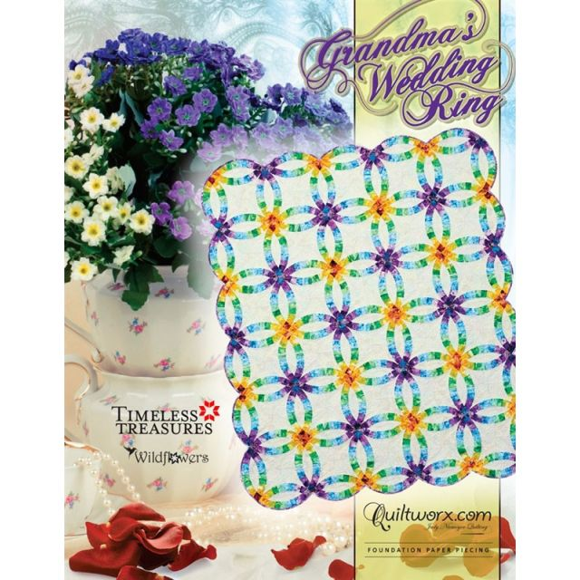 Grandma's Wedding Ring Quilt Pattern and Foundation Papers by Judy Niemeyer by Quiltworx - Judy Niemeyer Quiltworx