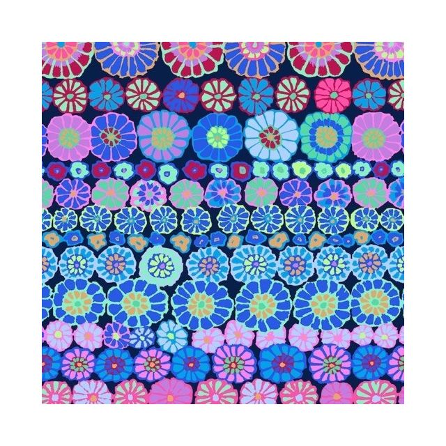 Row Flowers - Blue by The Kaffe Fassett Collective Row Flowers - OzQuilts
