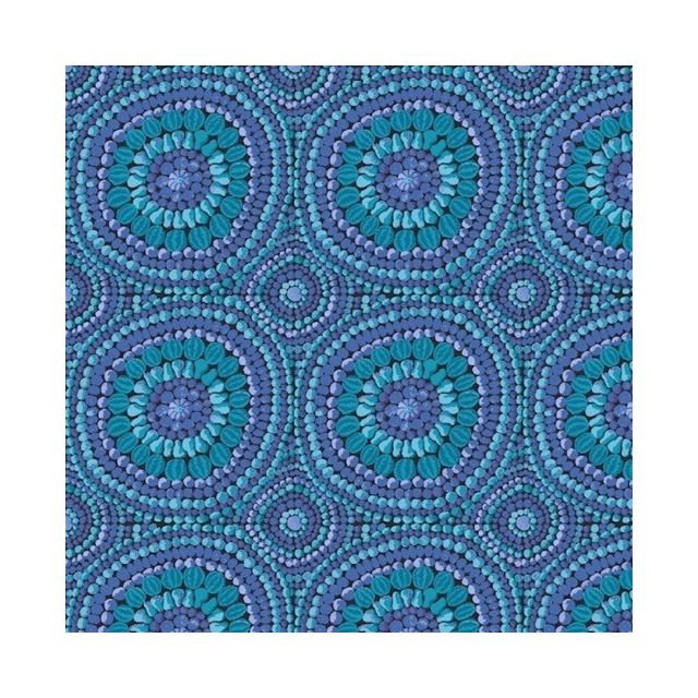 "Fruit Mandala 108"" Wide Quilt Backing - Blue by The Kaffe Fassett Collective Fruit Mandala Quilt Backing - OzQuilts"