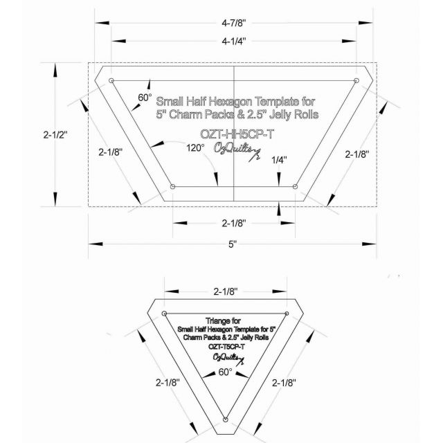 """Small Half Hexagon Template for 5"""" Charm Packs & 2.5"""" Jelly Rolls by OzQuilts - Custom Quilt Template Sets"""