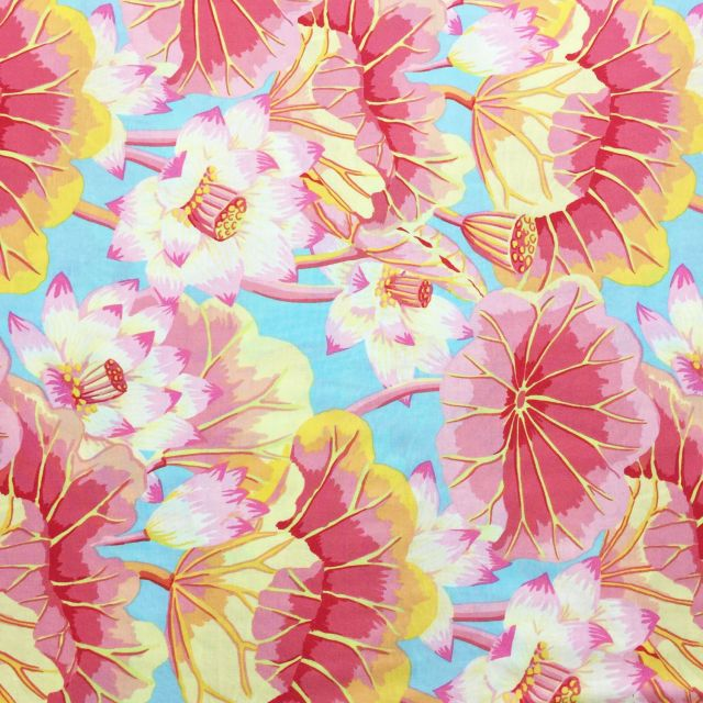 Lake Blossoms - pink by The Kaffe Fassett Collective Lake Blossoms - OzQuilts