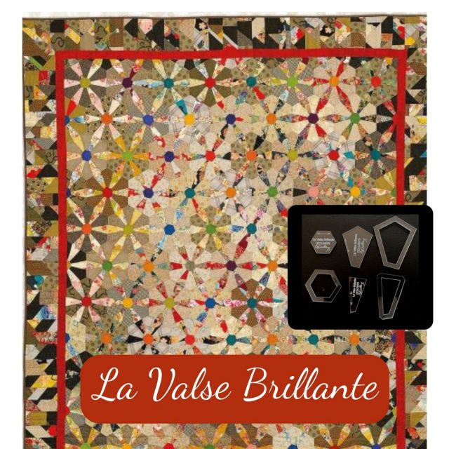 "La Valse Brillante Halo Template Set from Millefiori Quilts - 3/4"" Inner Hexagon makes 3"" block by  EPP Templates - OzQuilts"