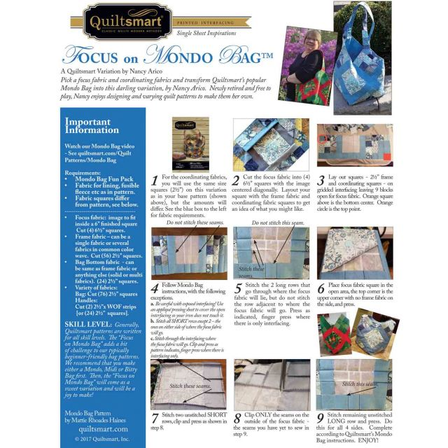 Quiltsmart Mondo Bag Pattern & Printed Interfacing Bag Kit by Quiltsmart Bag Patterns - OzQuilts