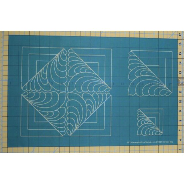 Full Line Stencil Log Cabin Feather/Square  -3 Sizes by Hancy Full Line Stencils Pounce Pads & Quilt Stencils - OzQuilts