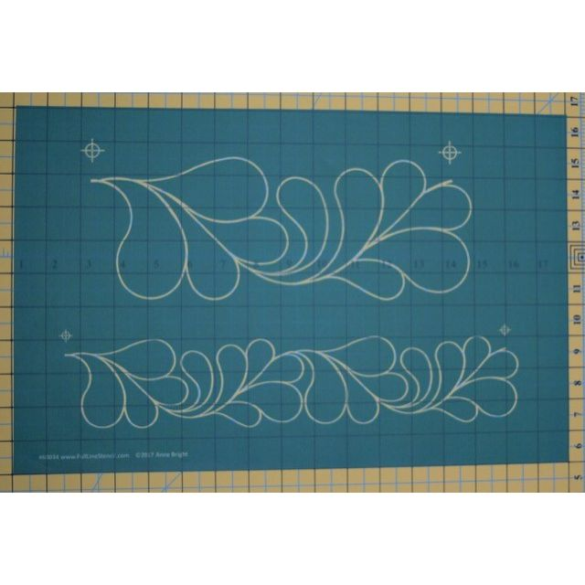 """Full Line Stencil Feather Border by Anne Bright - 4 ½"""" & 2 ¾"""" by Hancy Full Line Stencils Pounce Pads & Quilt Stencils - OzQuilts"""