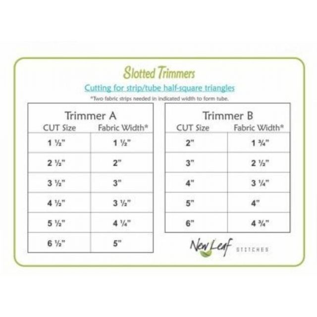Clearly Perfect Slotted Trimmers by New Leaf Stitches - Triangles ½ & ¼ Square