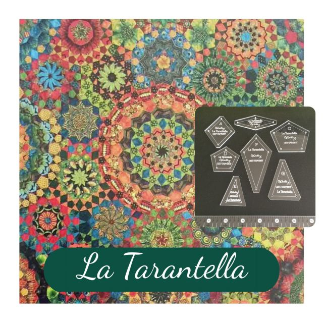 "La Tarantella Template Set from Millefiori Quilts 3- Traditional Set in 1.5"" Large Size by OzQuilts Millefiori Book 1  - OzQuilts"
