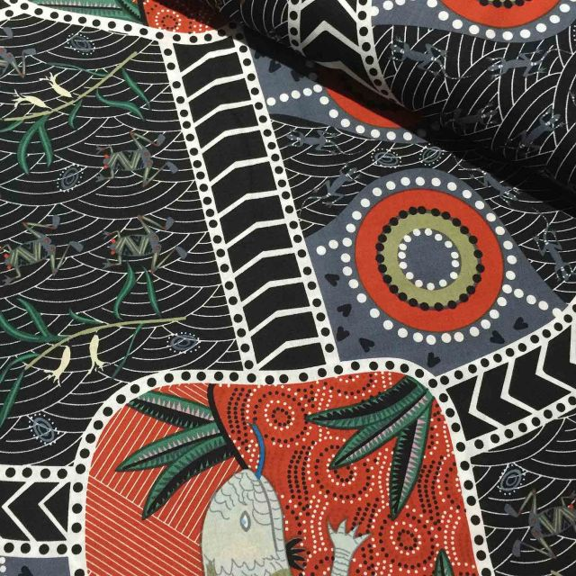 Blue Tongue Black Australian Aboriginal Art Fabric by Nambooka by M & S Textiles Cut from the Bolt - OzQuilts