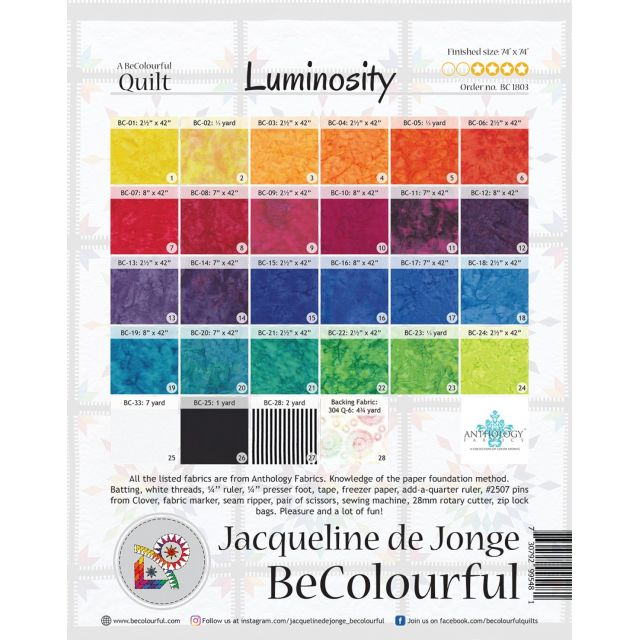 Luminosity Pattern & Foundation Papers by Jacqueline de Jongue by BeColourful Quilts by Jacqueline de Jongue BeColourful Quilts by Jacqueline de Jongue - OzQuilts