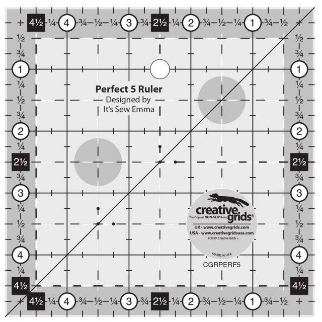 Creative Grids Perfect 5 Ruler by Creative Grids Square Rulers - OzQuilts
