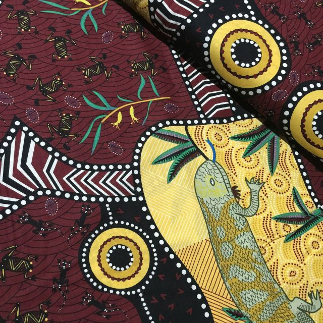 Blue Tongue Brown Australian Aboriginal Art Fabric by Nambooka by Christine Doolan by M & S Textiles - Cut from the Bolt